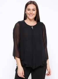 Broş Detaylı Bluz - Siyah - Kifayet