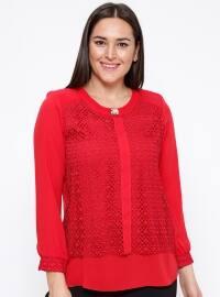 Dantel Detaylı Bluz - Kırmızı - Kifayet
