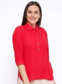 Düğme Detaylı Bluz - Kırmızı - Kifayet