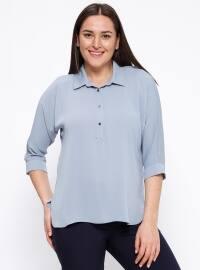 Düğme Detaylı Bluz - Mavi - Kifayet