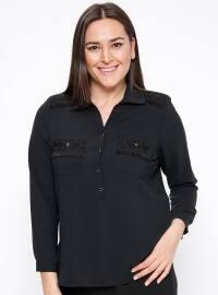 Güpür Detaylı Bluz - Siyah - Kifayet
