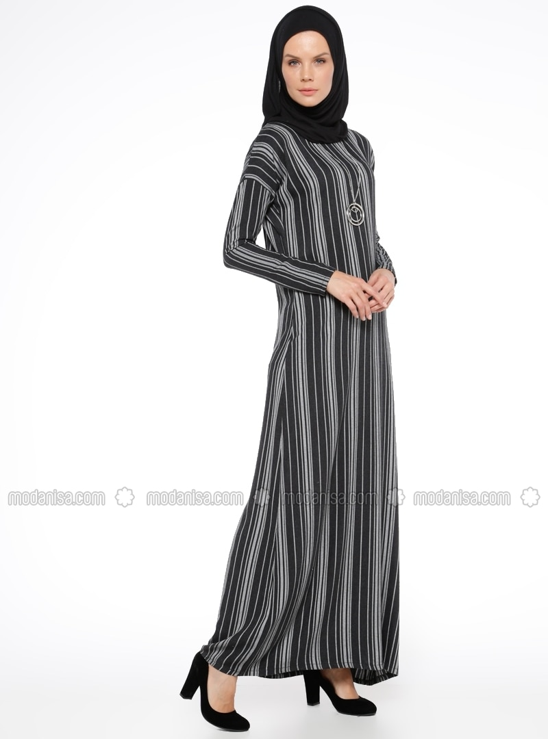 Unlined - Crew neck - Stripe - White - Black - Dresses