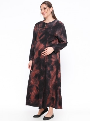 Black – Multi – Crew Neck – Unlined – Maternity Dress – Neslihan