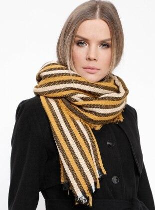 Acrylic - Gold - Golden tone - Striped - Shawl Wrap