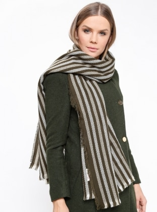 Acrylic - Khaki - Striped - Shawl Wrap
