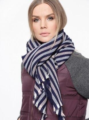 Acrylic - Navy Blue - Striped - Shawl Wrap