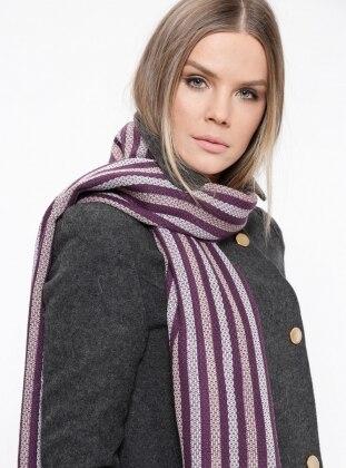 Acrylic - Purple - Striped - Shawl Wrap