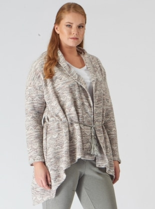 Beige - Shawl Collar - Cardigan