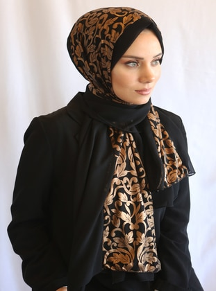 Black - Gold - Shawl -  Eşarp
