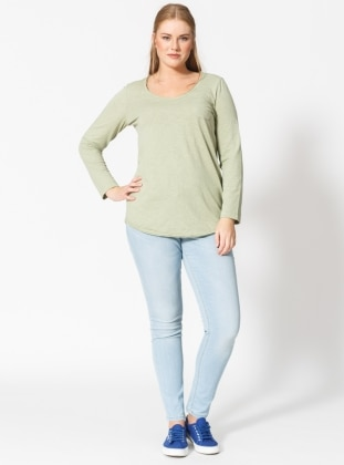 Green - V neck Collar - Blouses
