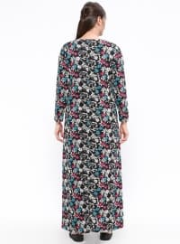 Blue - Black - Floral - Crew neck - Unlined - Maternity Dress