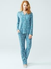 V neck Collar - Ethnic - Petrol - Pyjama