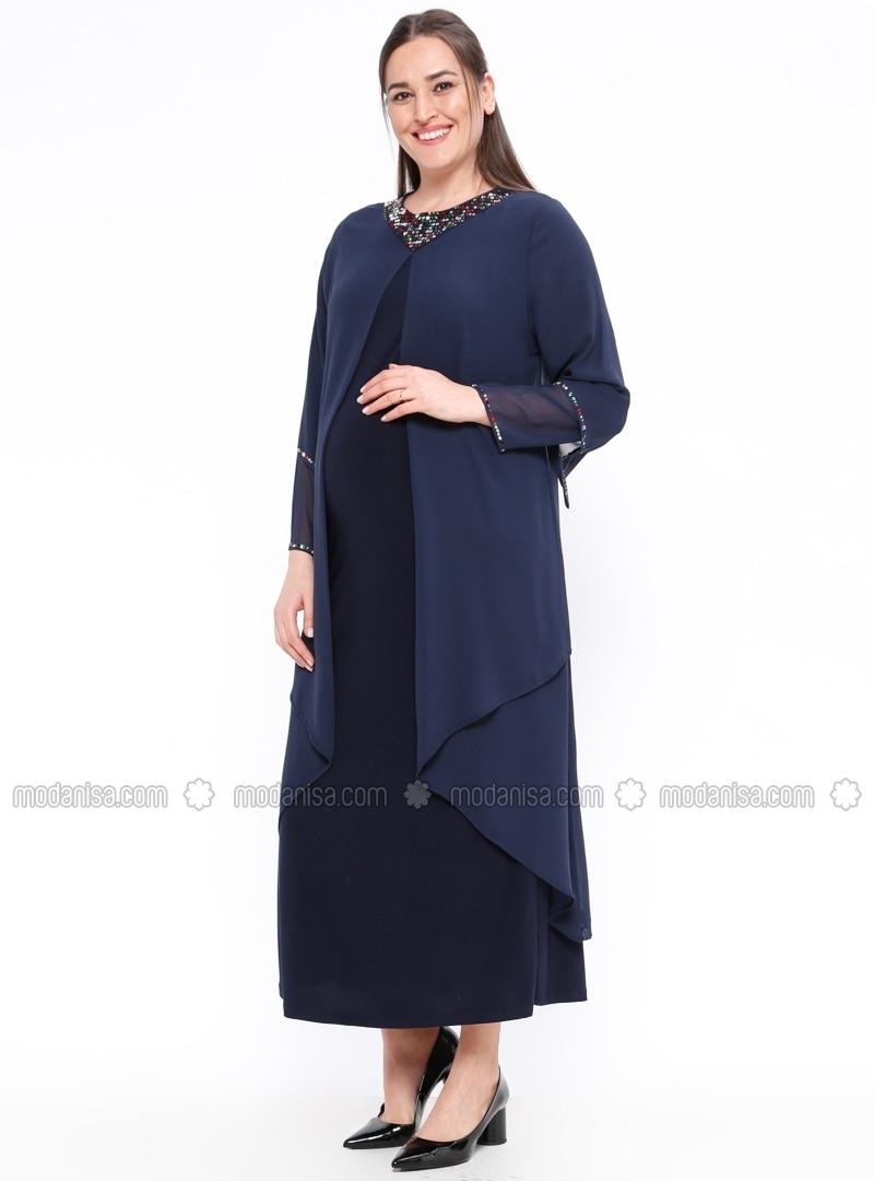 blue unlined crew neck maternity evening dress neslihan