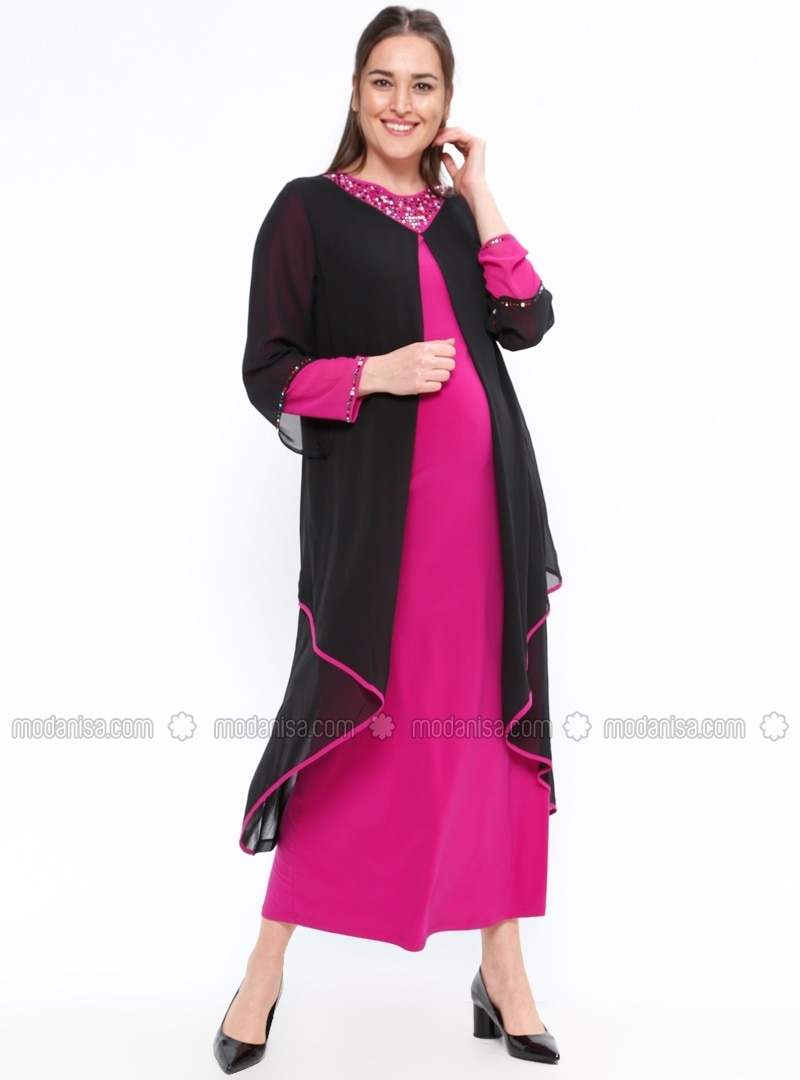 Pink - Unlined - Crew neck - Maternity Evening Dress - Neslihan