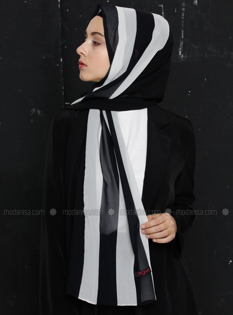 Black - White - Striped - Chiffon - Shawl -  Eşarp