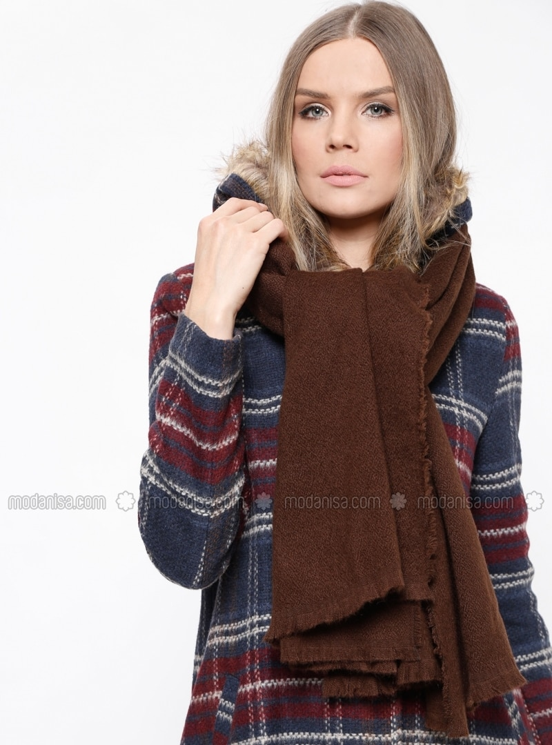 Acrylic - Brown - Plain - Shawl Wrap
