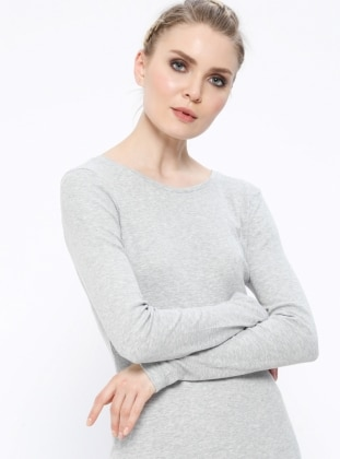 Gray - Crew neck - Unlined - Dresses