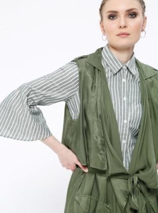 Green - Khaki - Unlined - Shawl Collar - Vest
