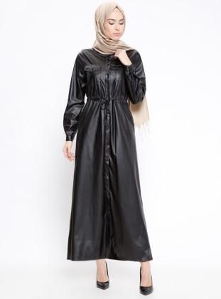 Schwarz - Knopfkragen - Mit Innenfutter - Hijab Kleid - Bezen