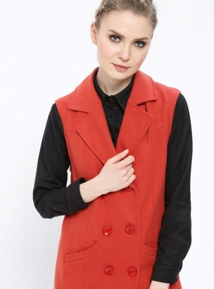 Brown - Orange - Fully Lined - Shawl Collar - Vest
