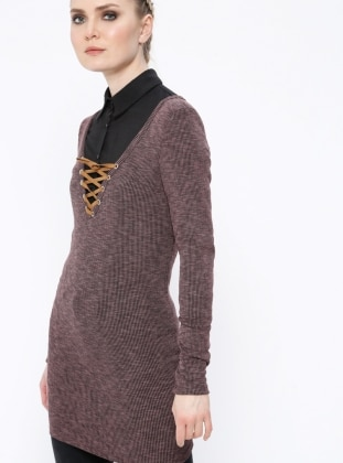 Maroon - V neck Collar - Tunic