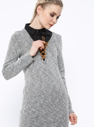 Gray - V neck Collar - Dresses