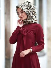 Maroon - Crew neck - Fully Lined - Dresses