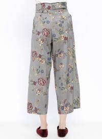 Black - Floral - Stripe - Pants