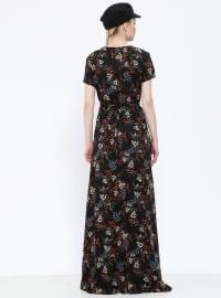 Black - Multi - V neck Collar - Unlined - Dresses