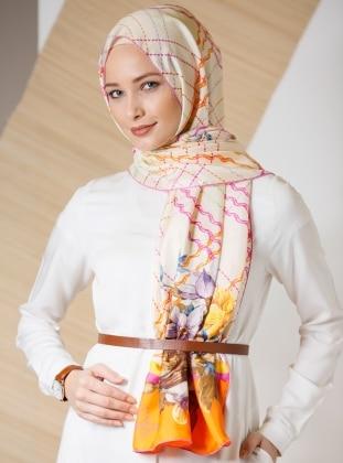 Ecru – Printed – %100 Silk – Shawl – Gizia
