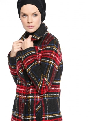 Red - Plaid - Fully Lined - Shawl Collar - Coat