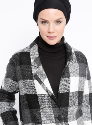 Black - White - Plaid - Fully Lined - Shawl Collar - Coat