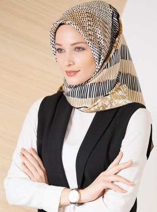 Black – Beige – Printed – %100 Silk – Scarf – Gizia