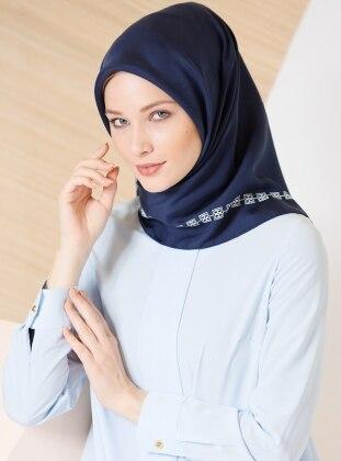 Blue – White – Printed – %100 Silk – Scarf – Gizia