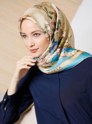 Blue – Printed – %100 Silk – Scarf – Gizia