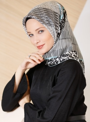 Black – White – Printed – %100 Silk – Scarf – Gizia