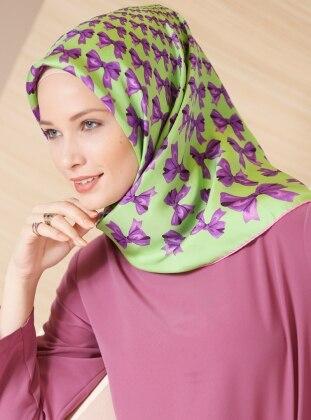 Green – Printed – %100 Silk – Scarf – Gizia