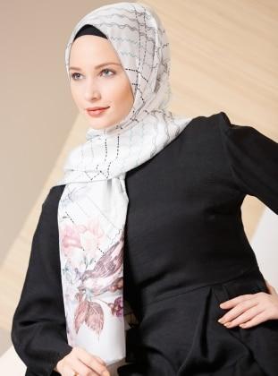 Gray – Printed – %100 Silk – Shawl – Gizia