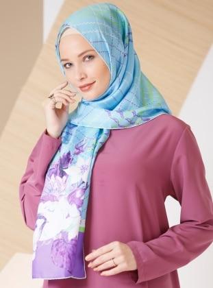 Blue – Printed – %100 Silk – Shawl – Gizia