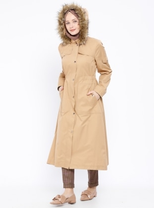 Crew neck - Fully Lined - Camel - Trench Coat
