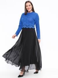 Dantelli Abiye Elbise - Saks Siyah - Sevilay giyim