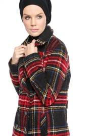 Ekoseli Kaban - Kırmızı - Fashion Box London
