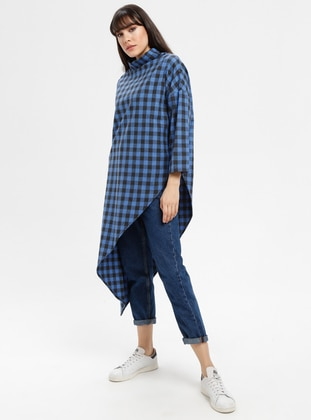 Blue - Plaid - Point Collar - Tunic