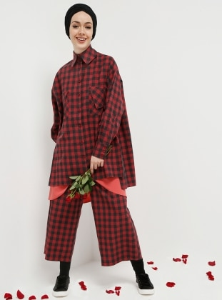 Red - Plaid - Pants