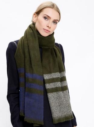 Green - Striped - Acrylic - Shawl - Daisy Accessory