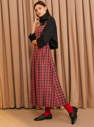 Red - Plaid - Sweatheart Neckline - Unlined - Dresses