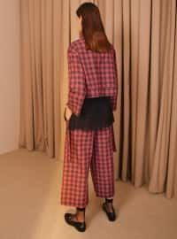 Red - Plaid - Polo neck - Blouses