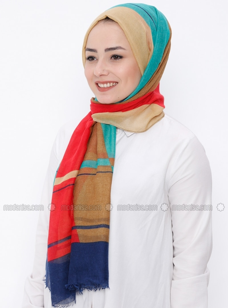 Red - Printed - Shawl