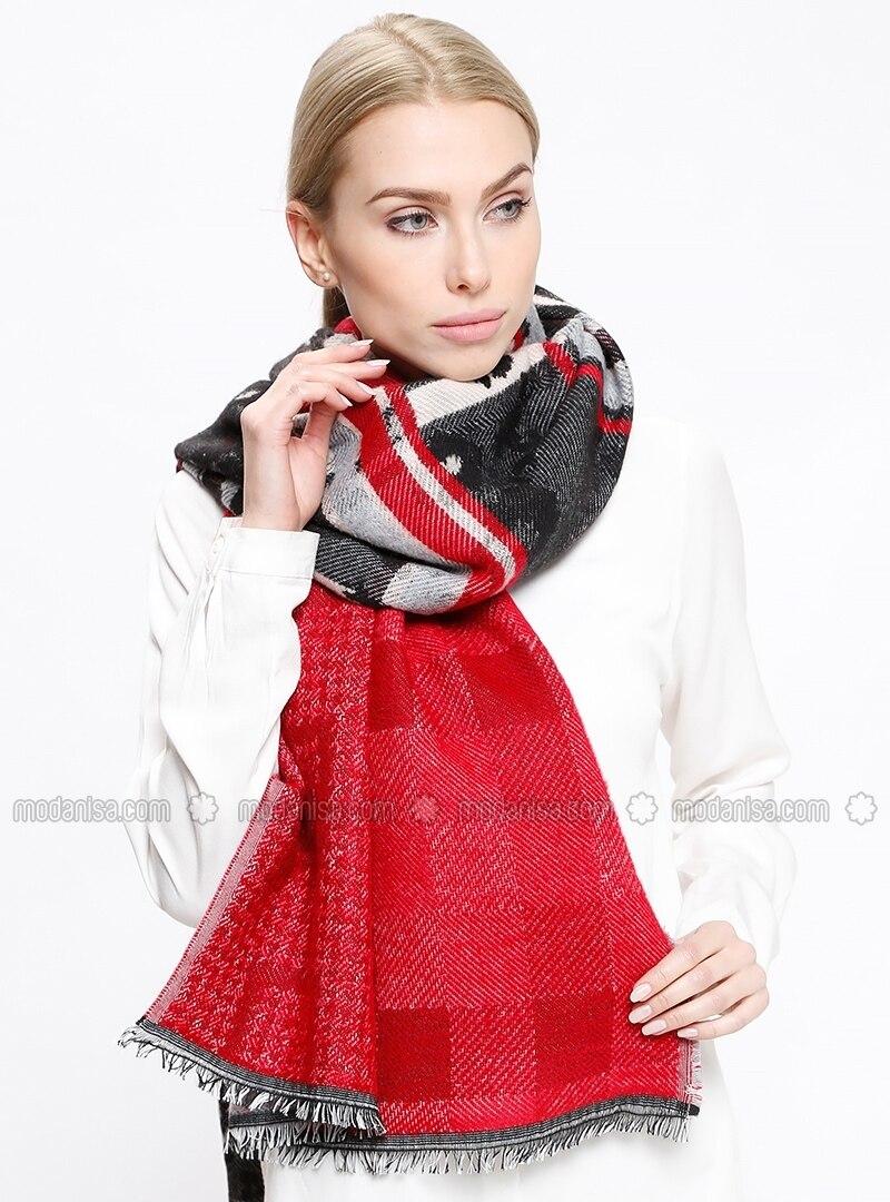 Red - Striped - Acrylic - Shawl