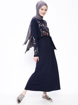 Navy Blue - Crew neck - Unlined - Dresses - Moonlight